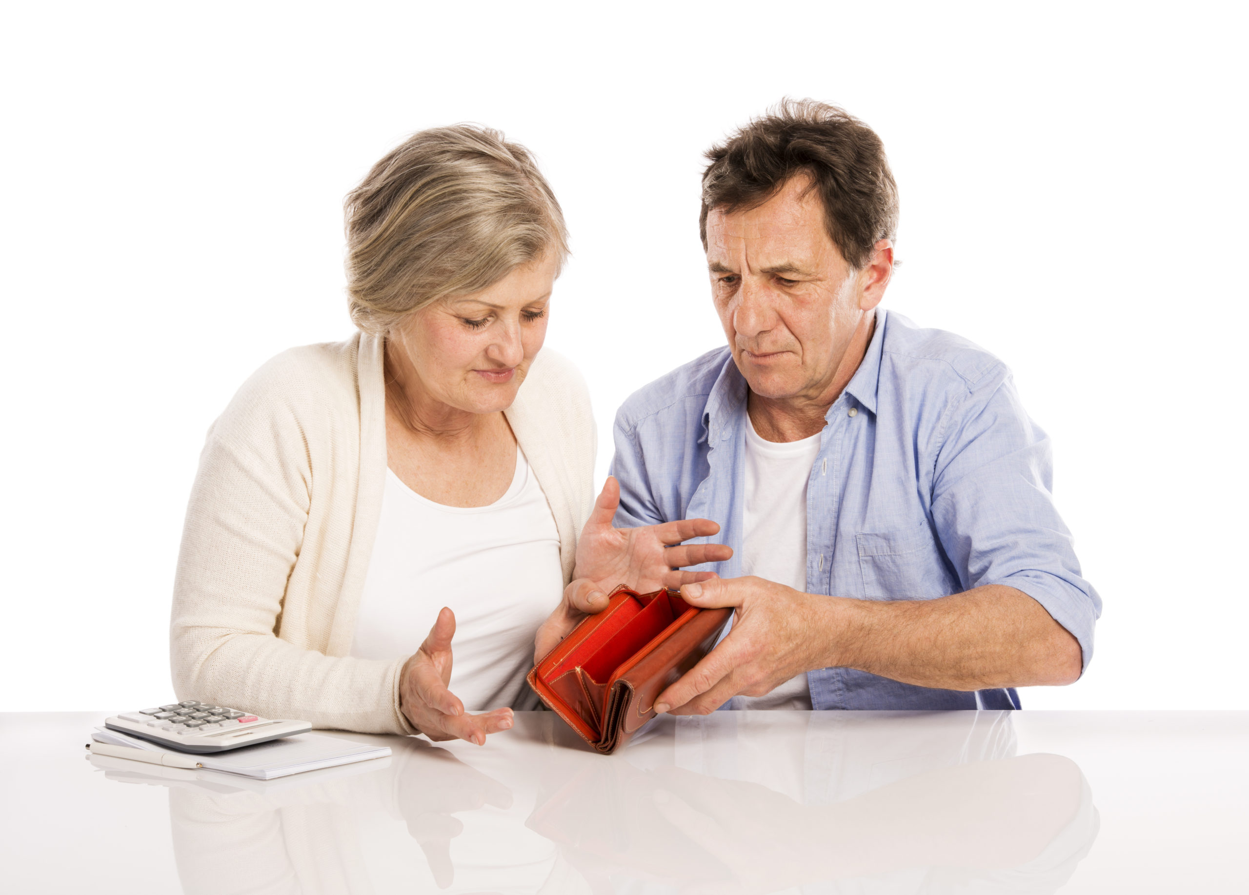Senior couple with empty wallet discussing financial issues, isolated on white background